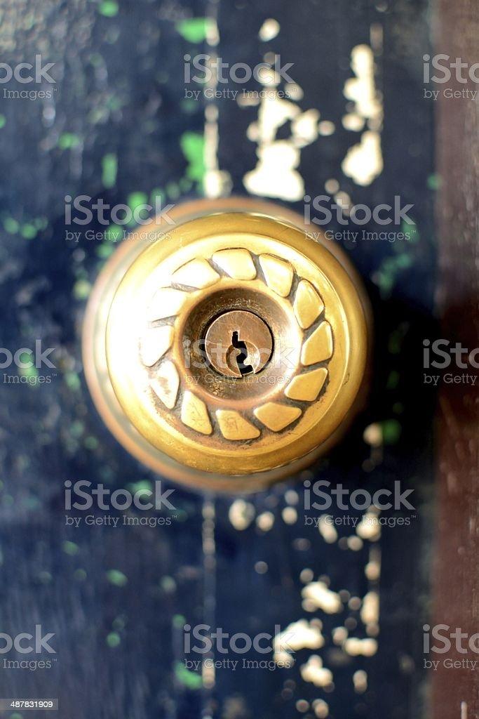 Old door knobs stock photo