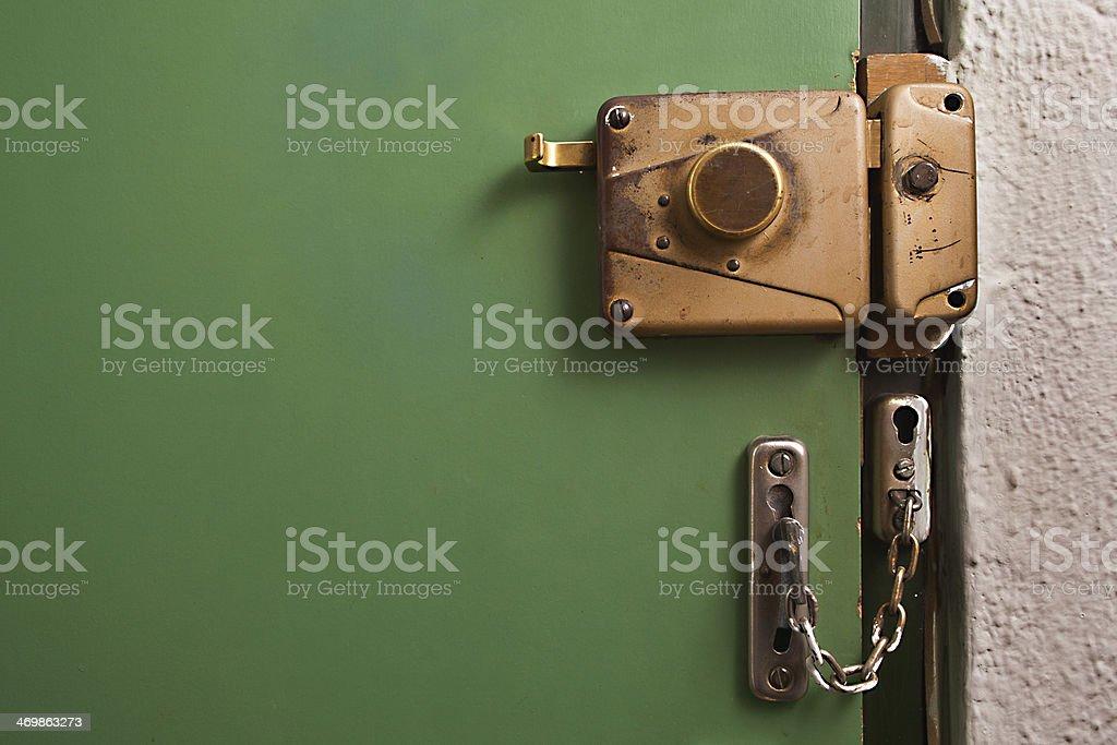 Old Door lock and chain stock photo