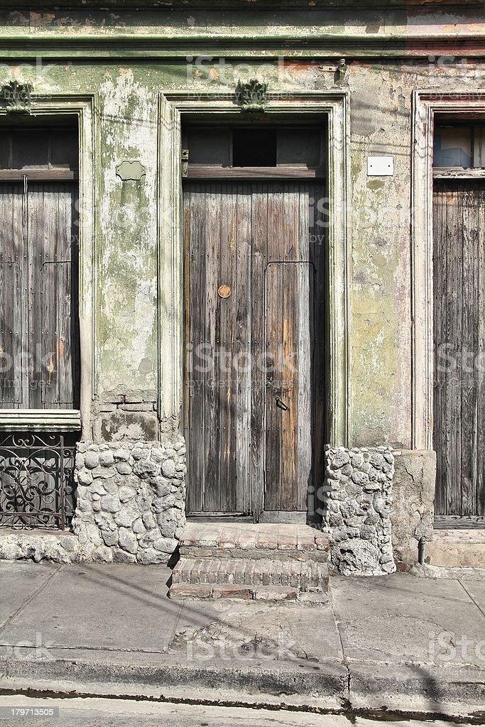 Old door, Santiago de Cuba royalty-free stock photo