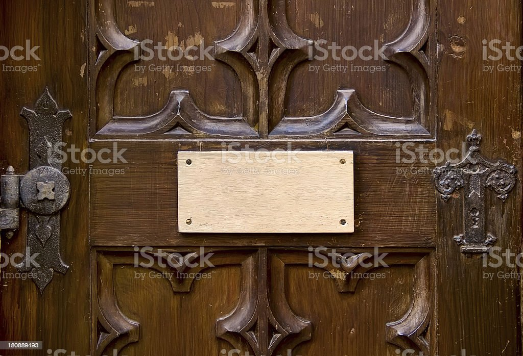 old door with blank tablet royalty-free stock photo