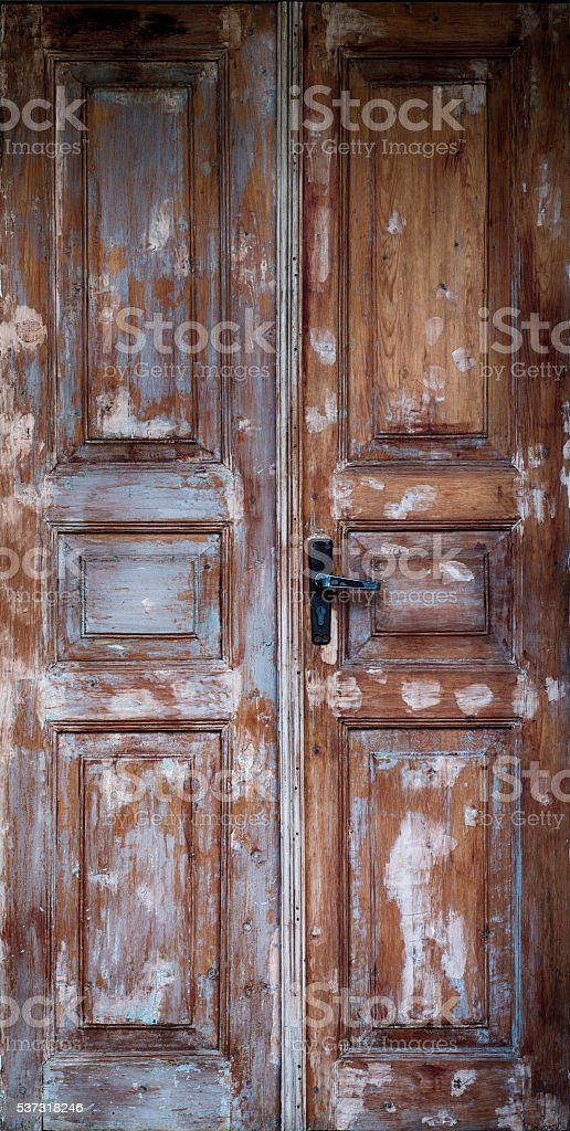 Old Door with Cracked Paint Background stock photo
