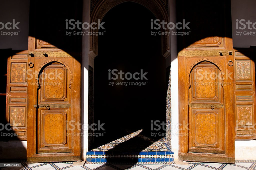 Old Doors in El Badi Palace - Marrakesh - Morocco stock photo