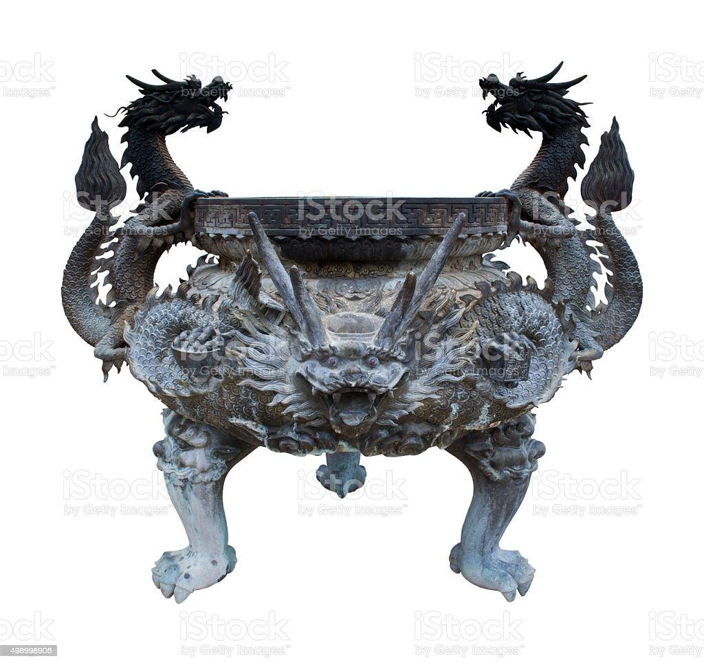 Old dragon's joss stick pot. stock photo
