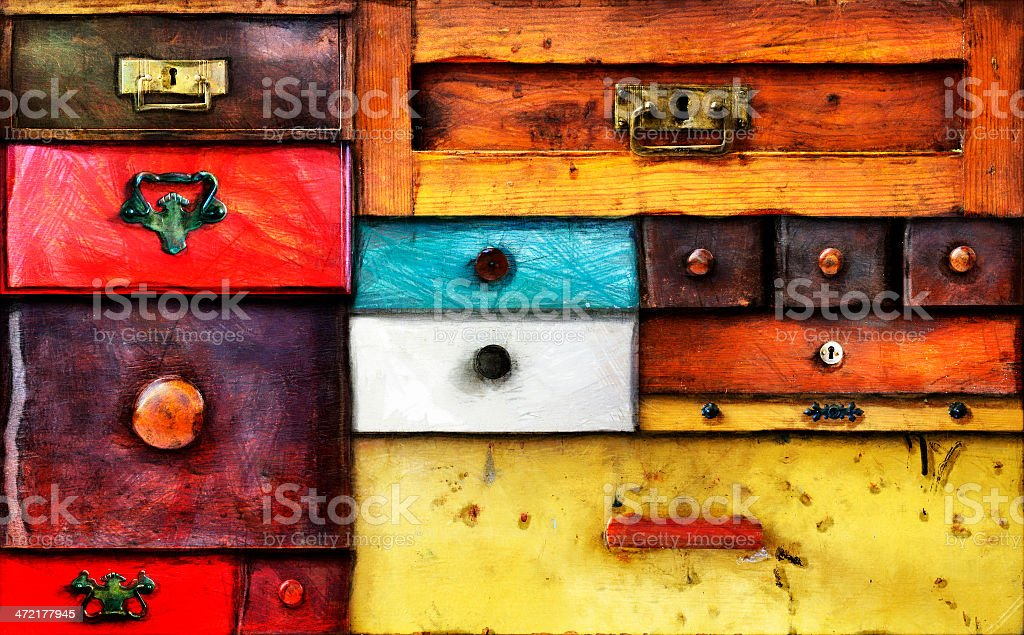 old drawers stock photo