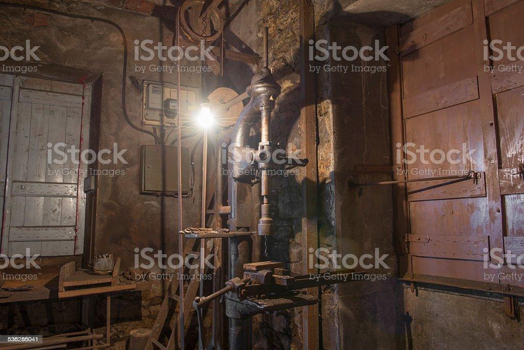 old drill press stock photo