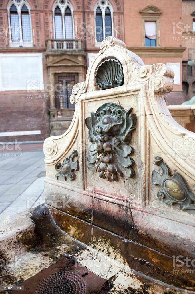 Old drinking fountain in Bologna, Italy stock photo
