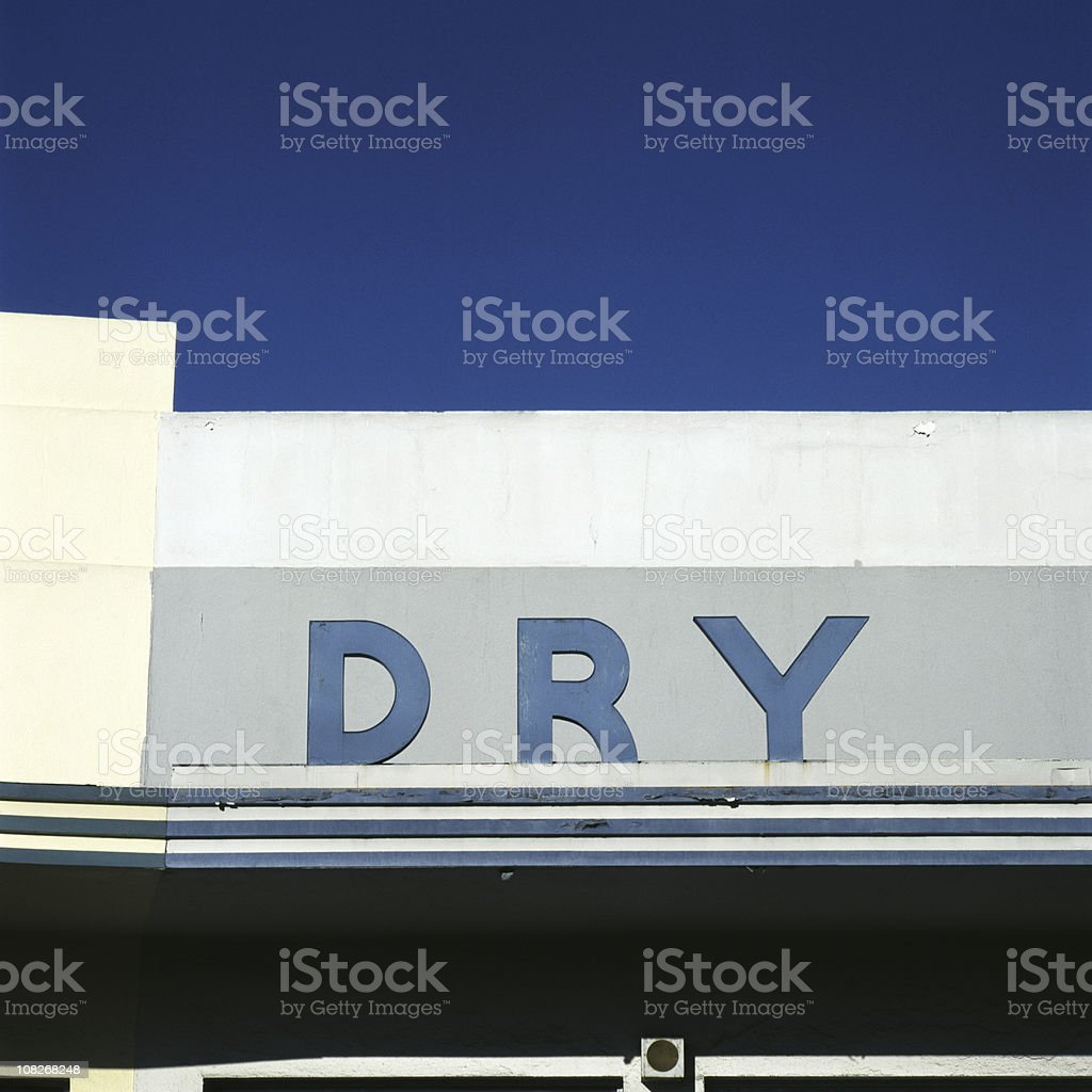 Old 'Dry' Sign on Building stock photo
