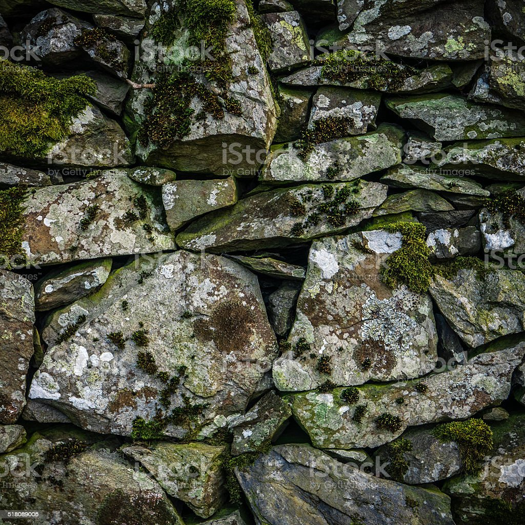 Old Dry Stone Wall stock photo