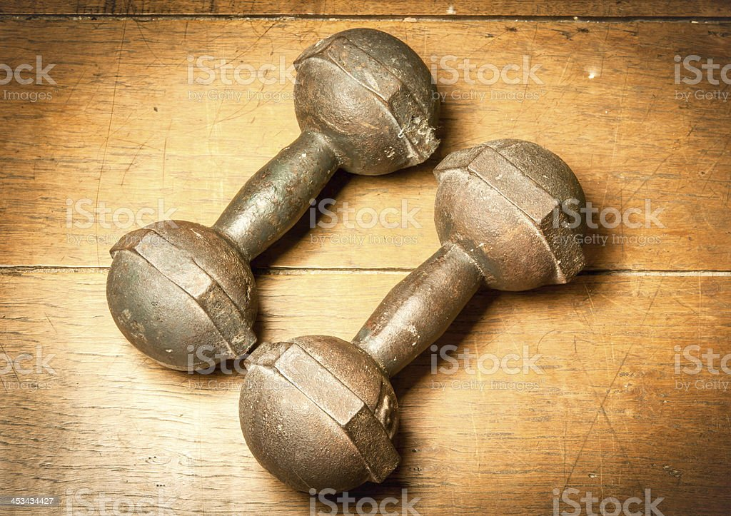 old dumbbell stock photo
