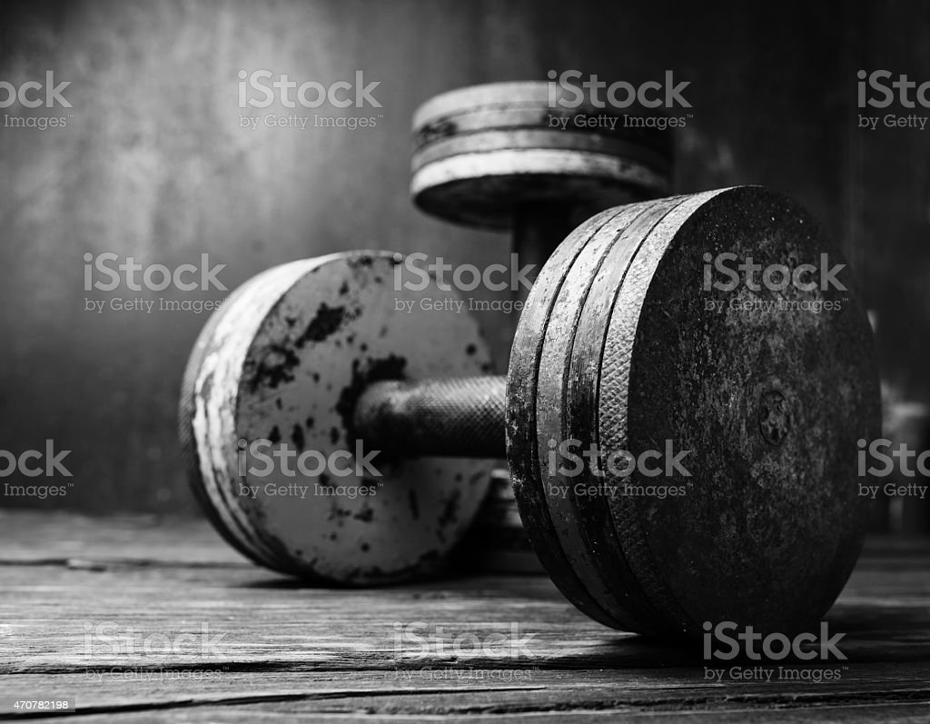 Old  dumbbells, black and white photo stock photo