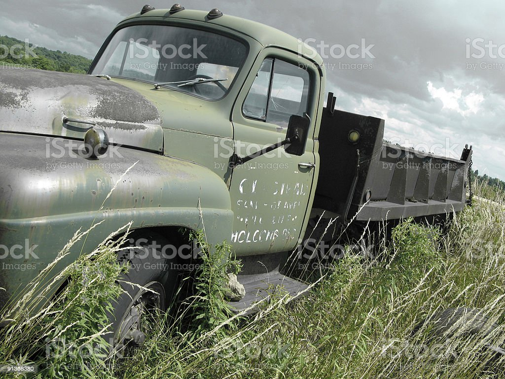 old dump truck stock photo