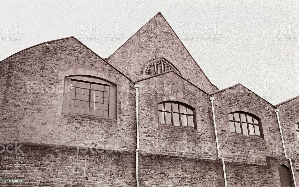 Old Durham Market Place. Brickwall buildings stock photo
