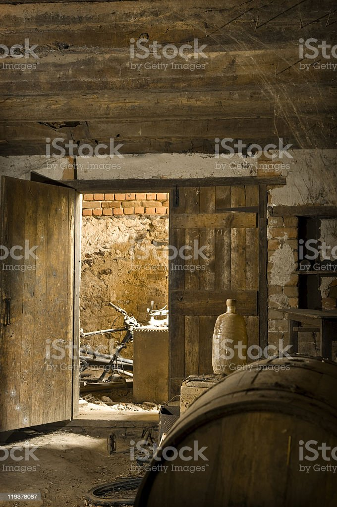 Old Dusty Dirty Wine Cellar royalty-free stock photo