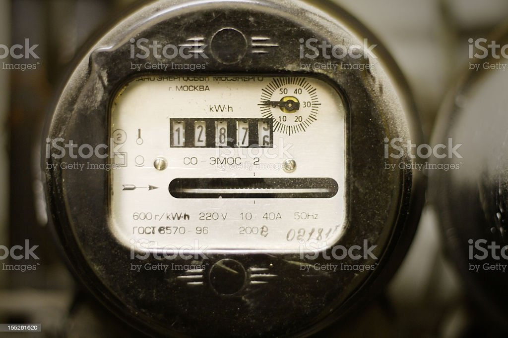 old dusty electricity supply meter royalty-free stock photo