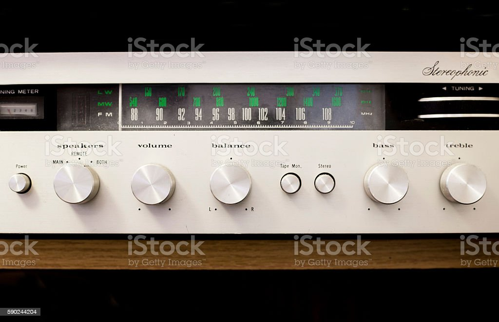 Old dusty Hi-Fi receiver with radio dial stock photo