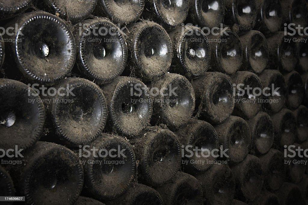 Old dusty wine bottles royalty-free stock photo