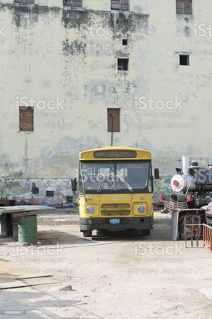 old dutch city bus in downtown havana, cuba royalty-free stock photo