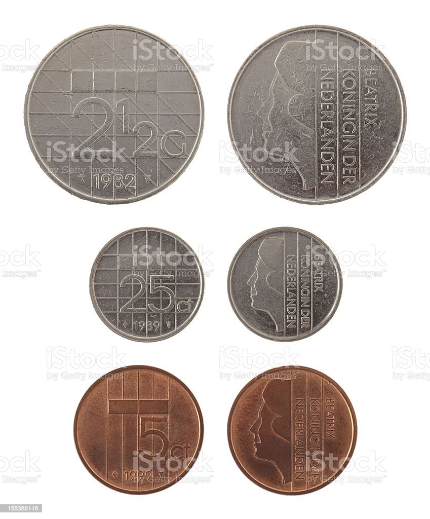 Old Dutch Coins Isolated on White stock photo