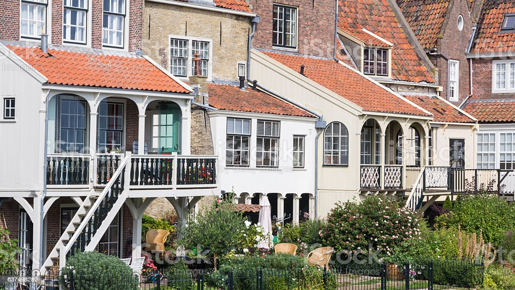 Old dutch fishermans houses stock photo