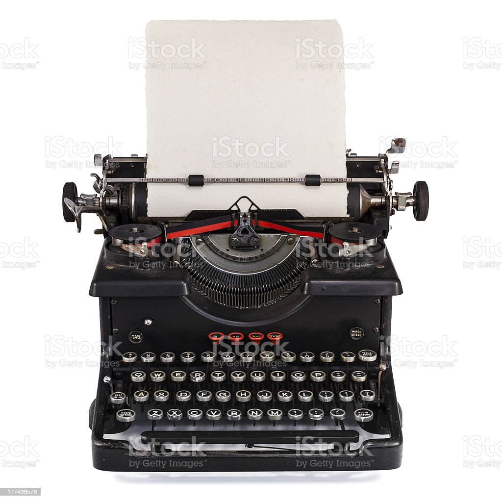 Old Dutch type writer with paper sheet stock photo