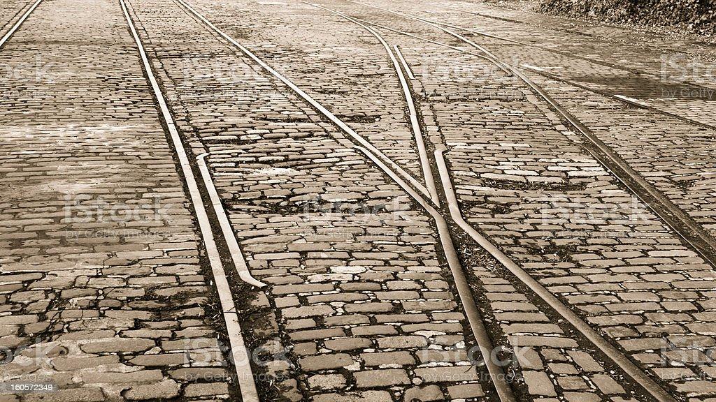 Old Edinburgh Tram Track Junction royalty-free stock photo