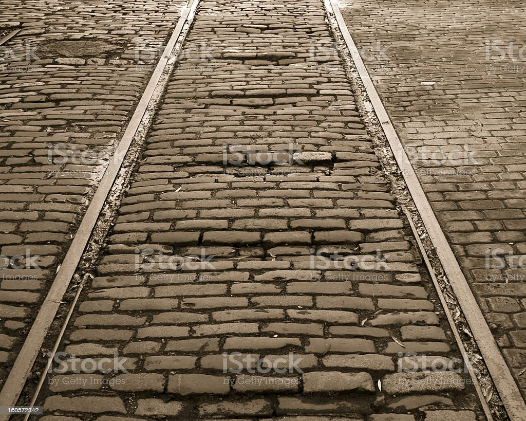 Old Edinburgh Tram Tracks royalty-free stock photo
