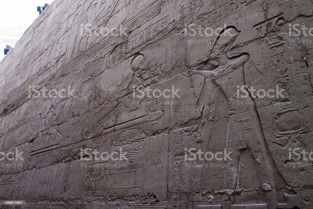 old egypt hieroglyphs Luxor temple royalty-free stock photo