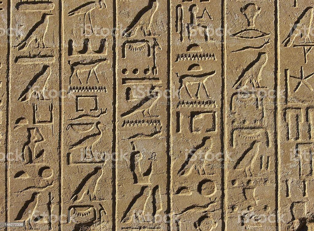 Old egyptian hieroglyphs royalty-free stock photo