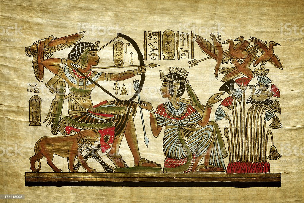 Old egyptian papyrus royalty-free stock photo