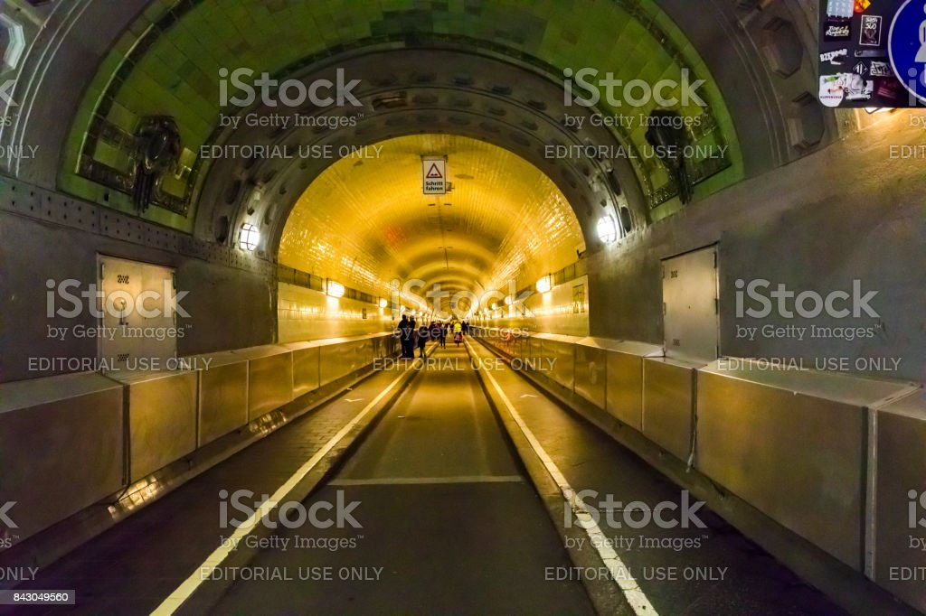 Old Elbe Tunnel or St. Pauli Elbe Tunnel, Hamburg, Germany stock photo