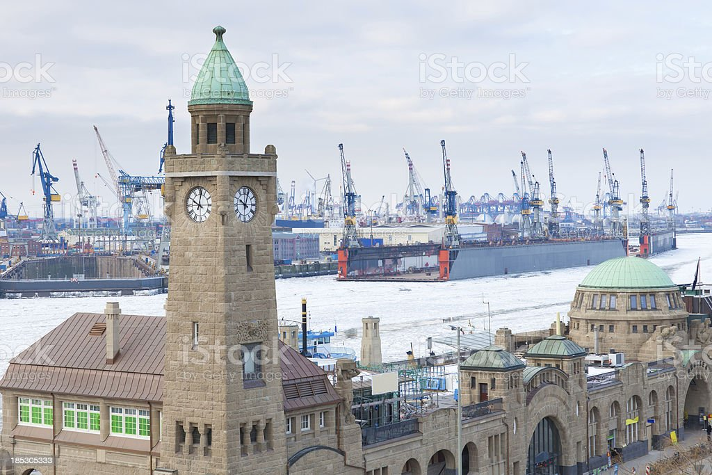 Old Elbtunnel in front of Blohm+Voss stock photo