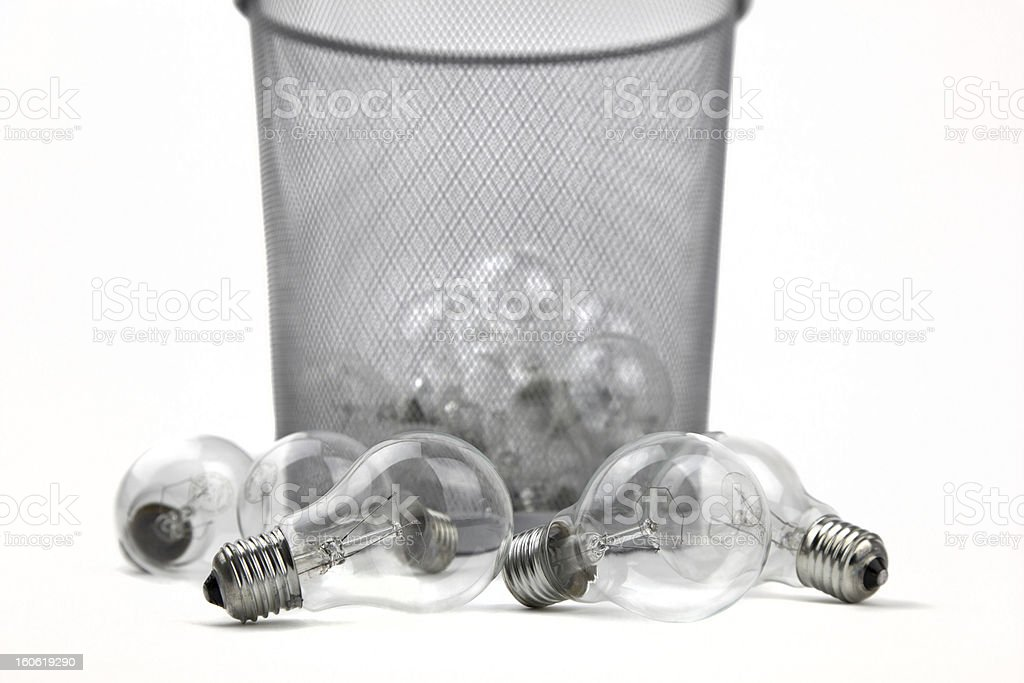 Old Electric Incandescent Bulbs in Dustbin royalty-free stock photo