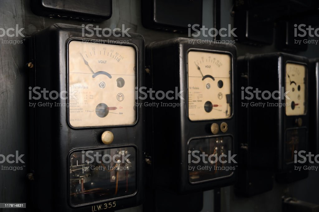 Old electric meters royalty-free stock photo