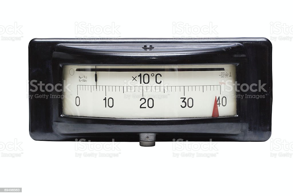 Old electric temperature meter stock photo