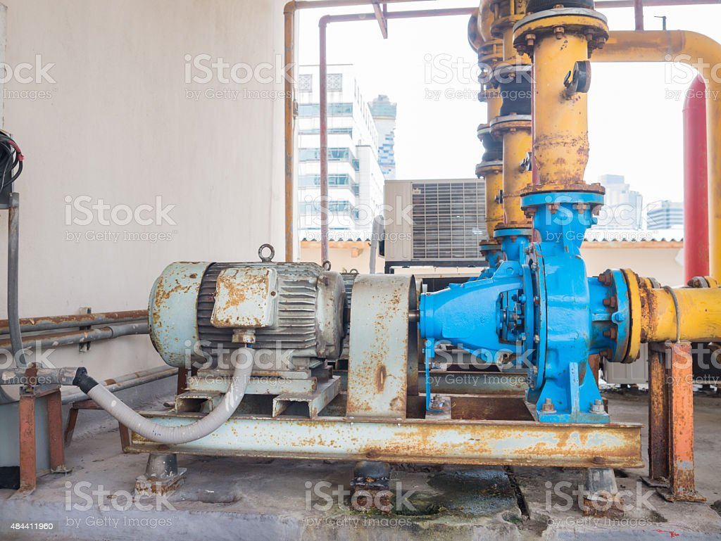 Old electric water pumps, full of rust. royalty-free stock photo