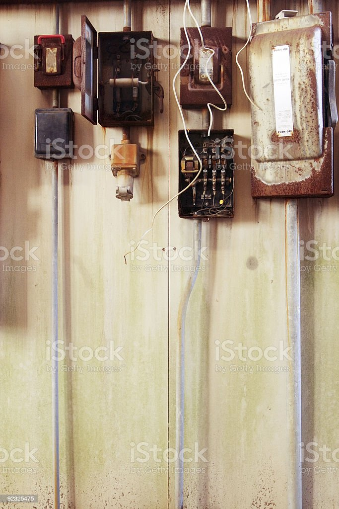 old electrical boxes royalty-free stock photo