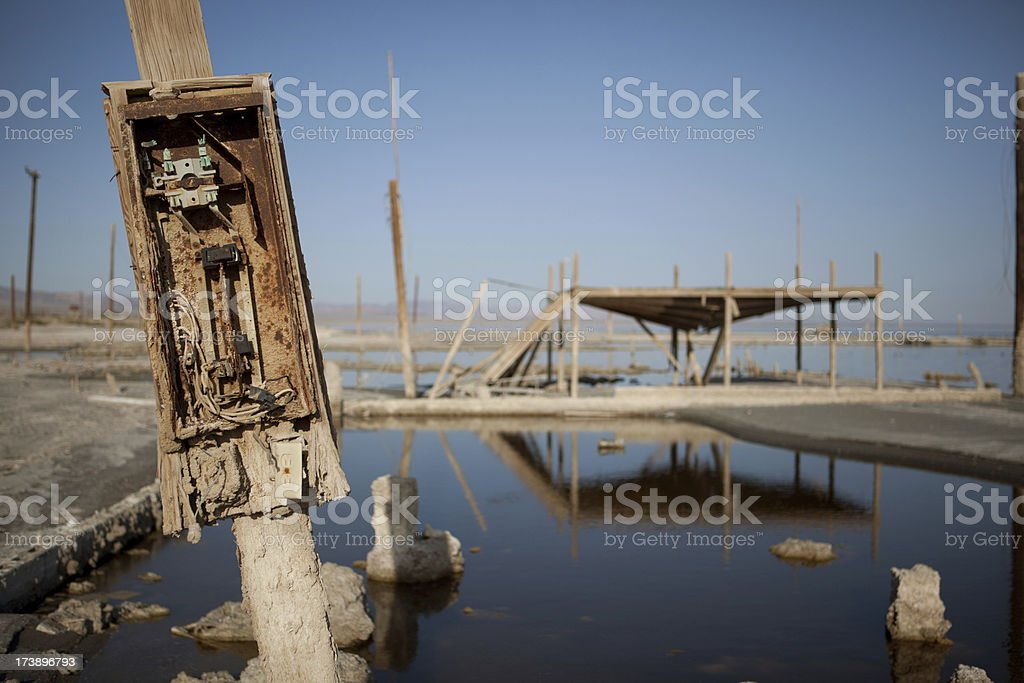Old electrical panel at a deserted resort near Salton Sea stock photo