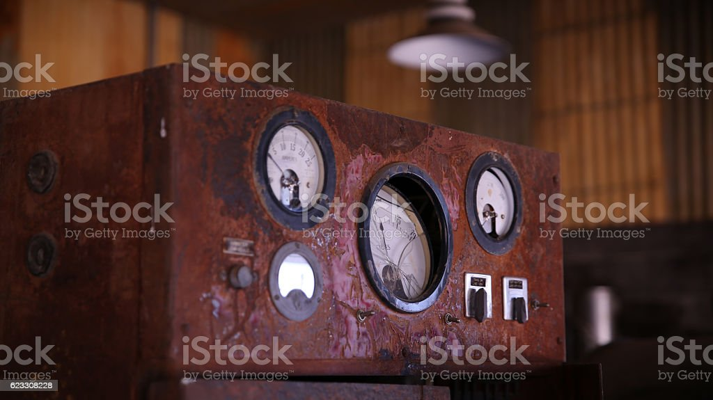 Old electrical power gauges stock photo