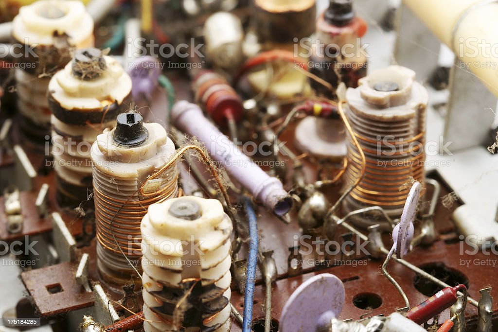 Old electronic circuits in vacuum tube radio royalty-free stock photo