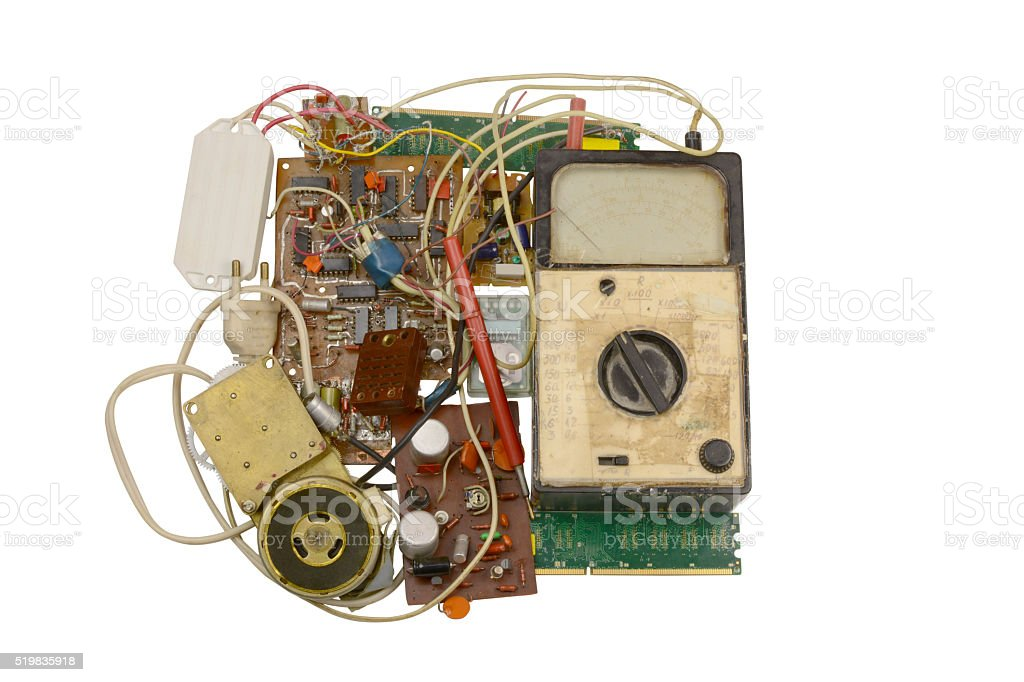old electronic components , circuits stock photo