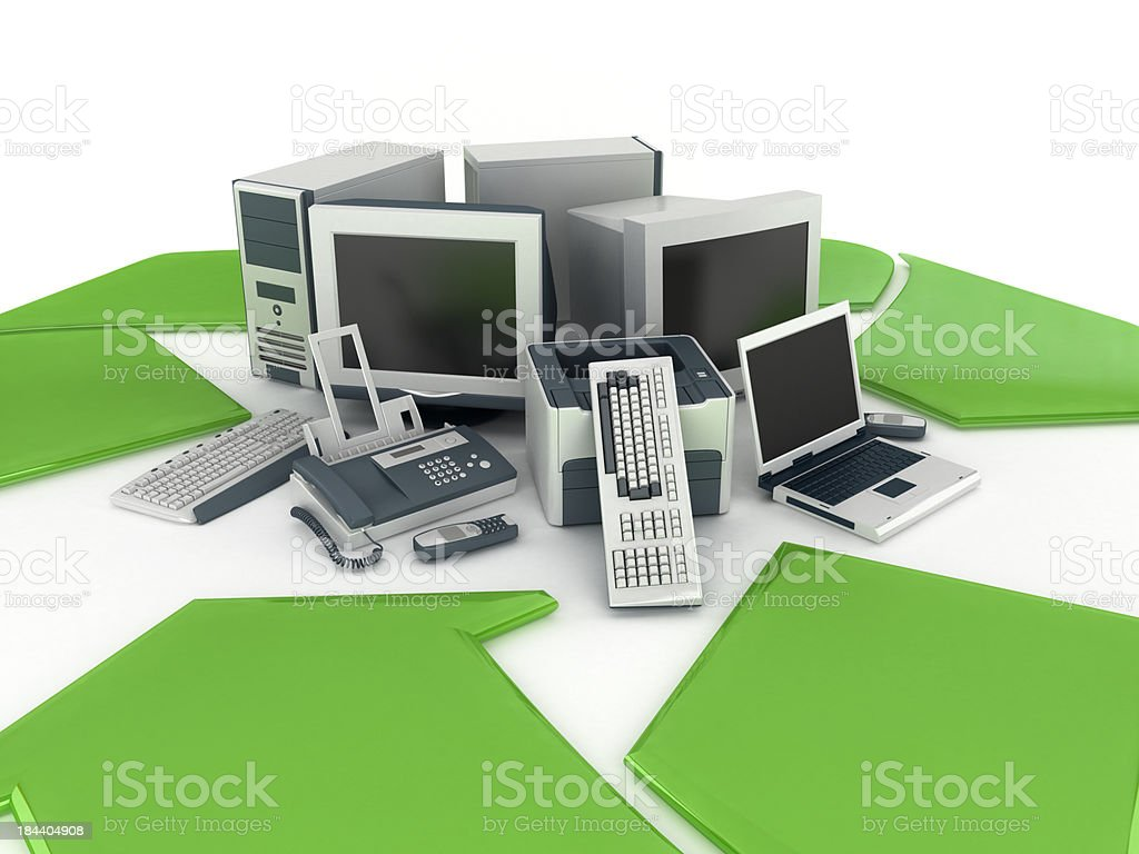Old electronics recycling stock photo