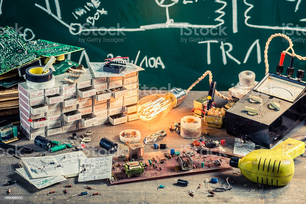 Old electronics workshop in laboratory stock photo