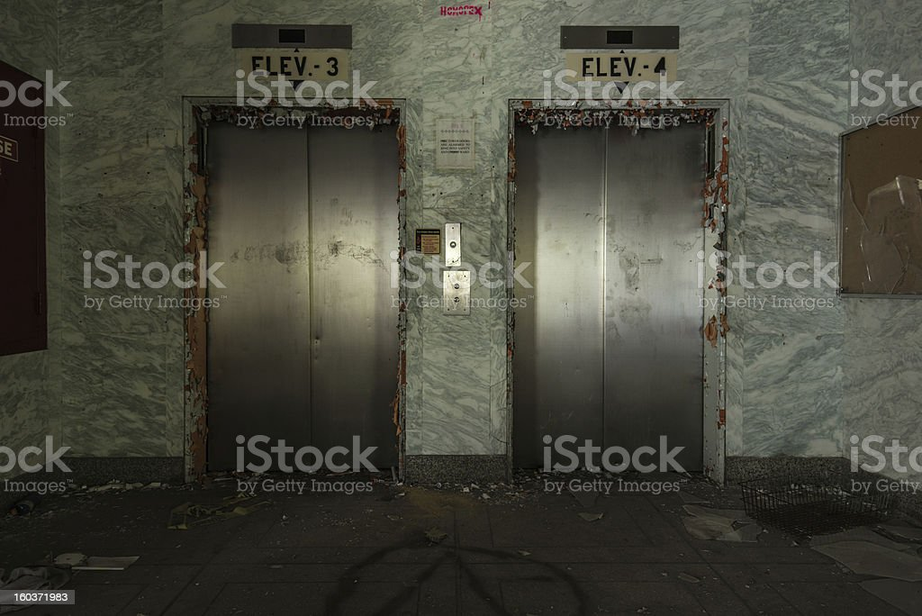 Old Elevators in Abandoned Hotel stock photo