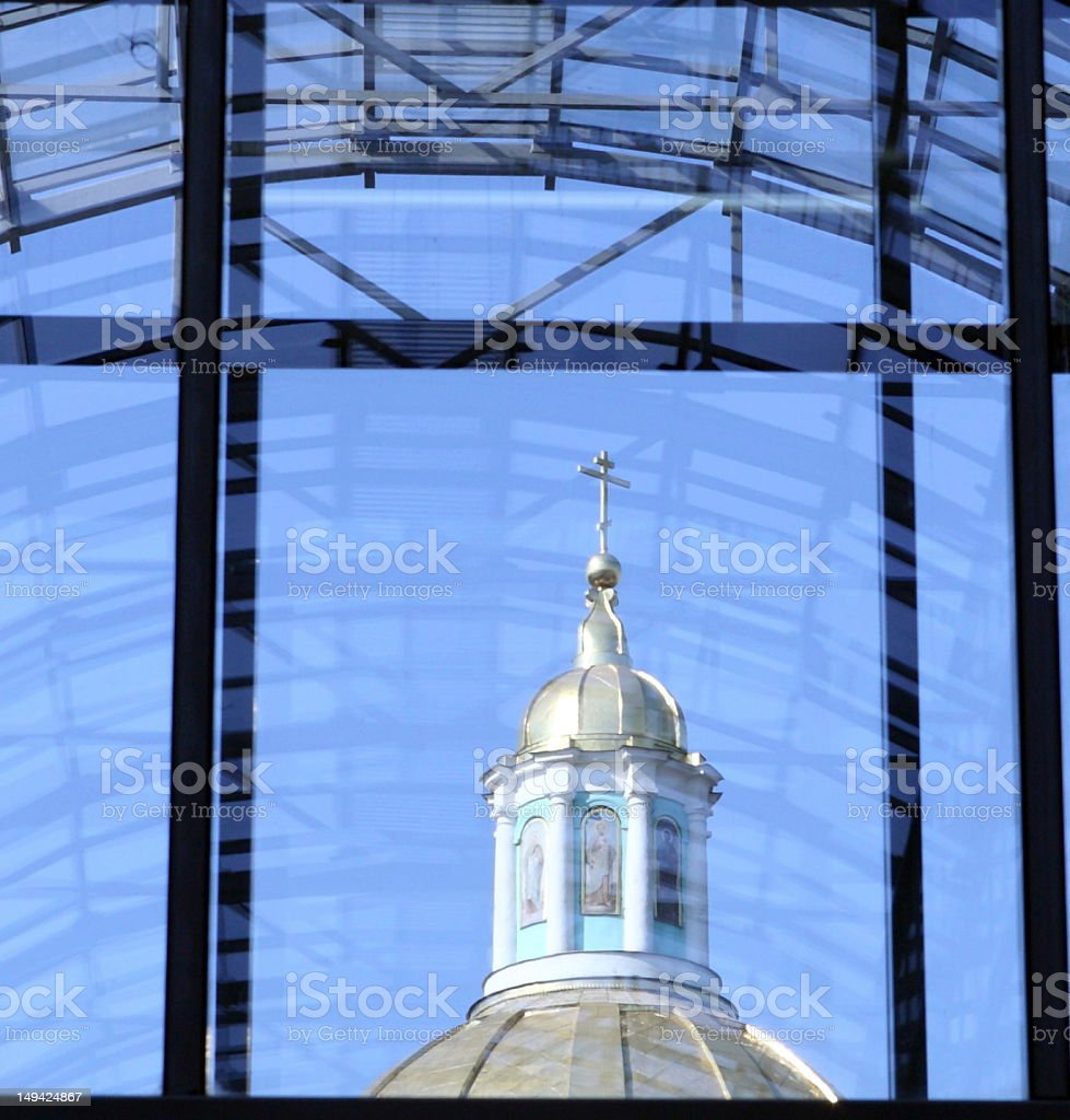 old elohovskiy cathedral in window stock photo