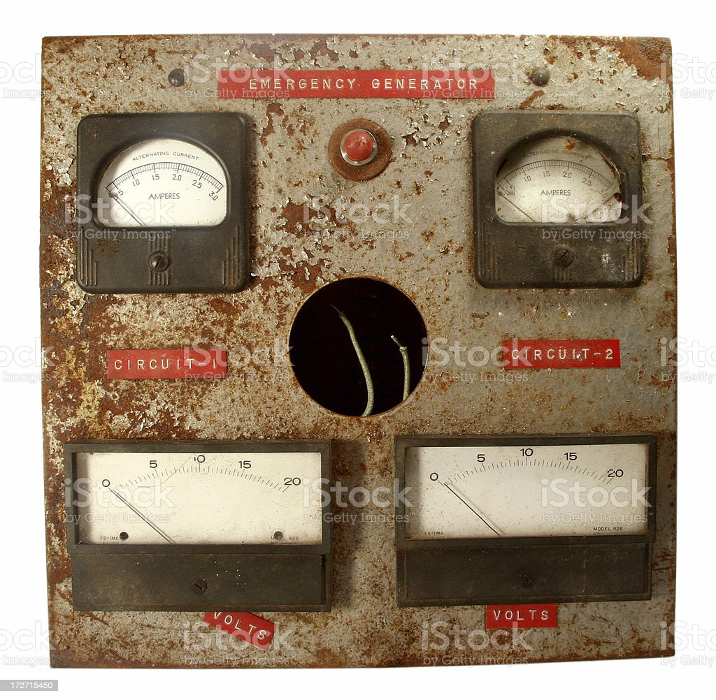 Old Emergency Generator Panel - Clipping royalty-free stock photo