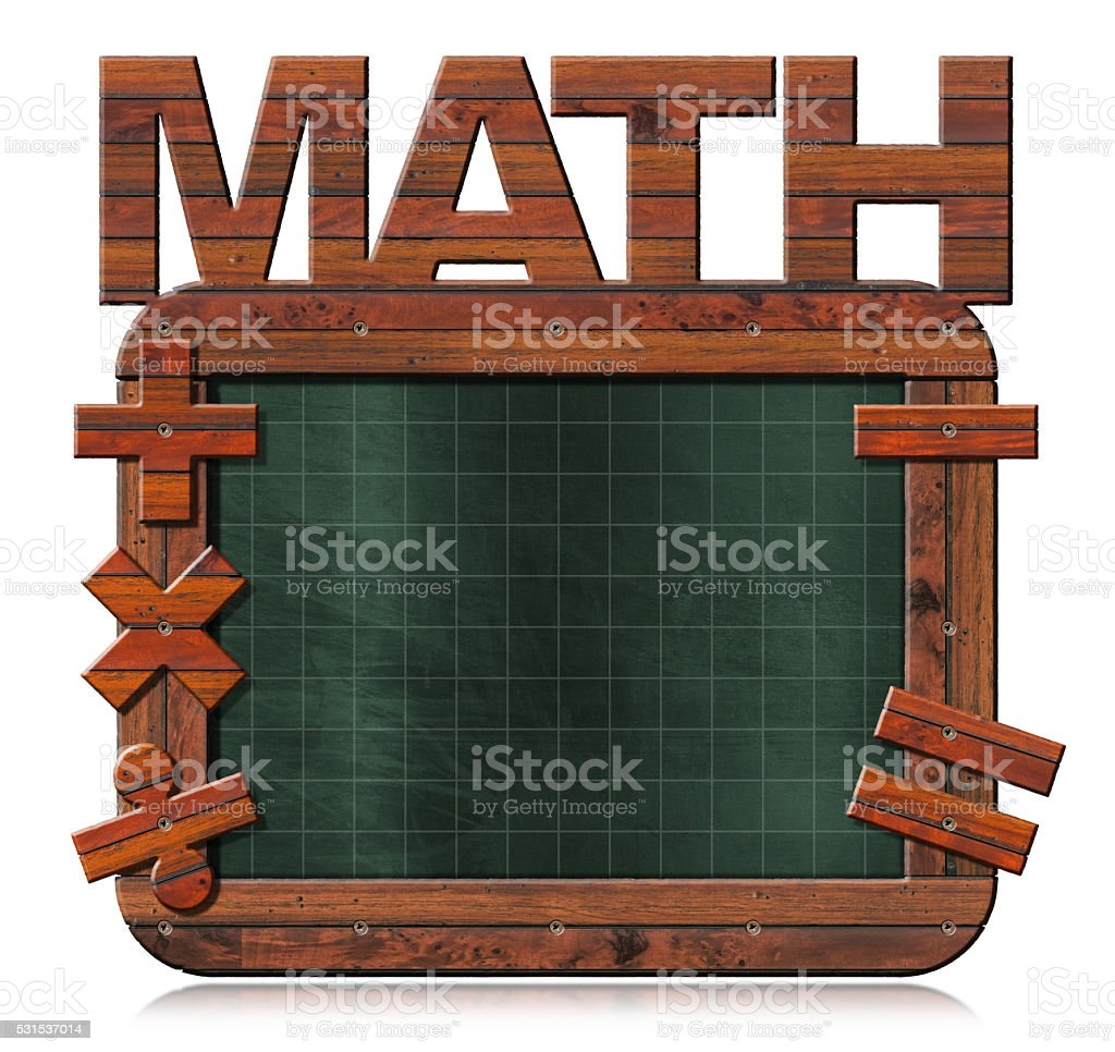 Old Empty Blackboard with Text Math stock photo
