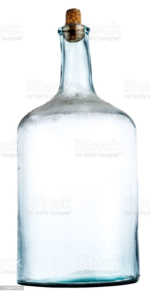 old empty bottle with dust stock photo