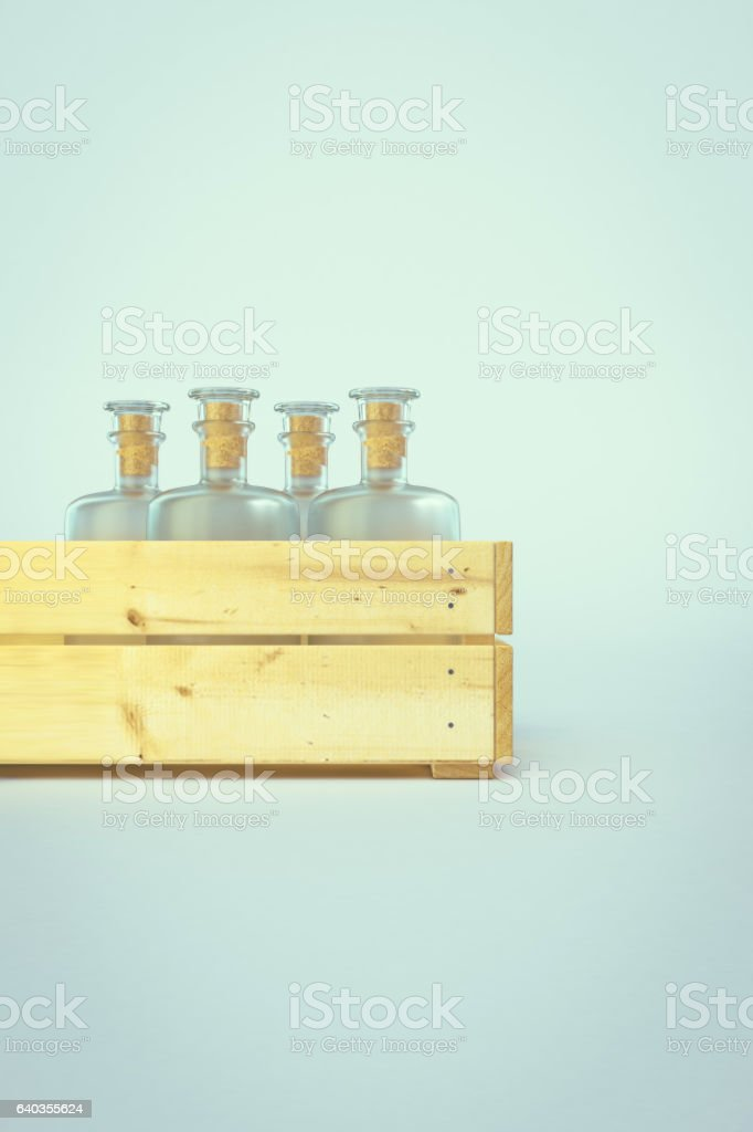 Old empty bottles in wooden box. 3D illustration stock photo