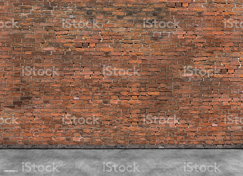 Old empty brick wall with foreground stock photo