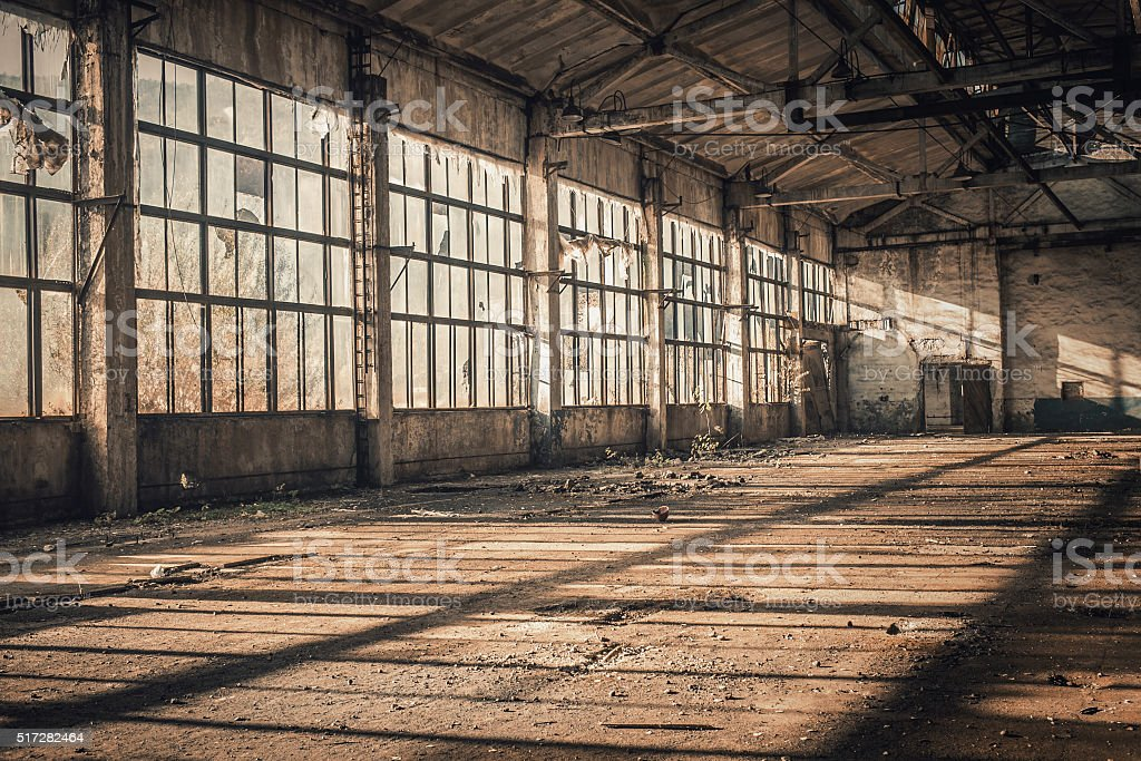 old empty factory stock photo